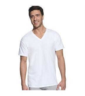 Hanes Classic Mens White V-Neck T-Shirt P6
