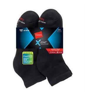 Hanes Men's FreshIQ X-Temp Active Cool Ankle Socks 12-Pack