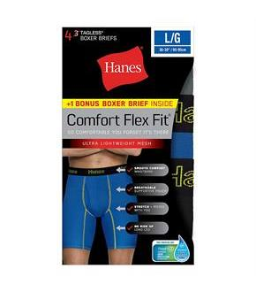 Hanes Men's Comfort Flex Fit Breathable Mesh Long Leg Boxer Briefs 4-Pack (includes 1 Free Bonus Boxer Brief)