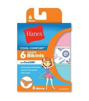 Hanes Girls' Cool Comfort Bikinis with Cool Dri 6-Pack