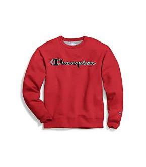 Champion Men's Powerblend Fleece Crew, Logo With White Chainstitch