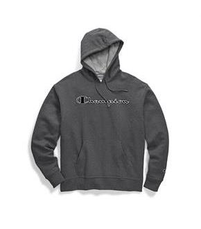 Champion Men's Powerblend Fleece Pullover Hoodie, Chainstitch Outline Logo