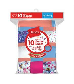 Hanes Girls Tagless Low Rise Briefs P10