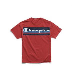 Champion Men's Classic Jersey Tee, Logo with Stripes