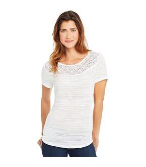 Hanes Women's Peasant Top with Lace Trim