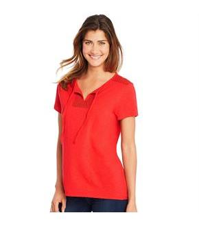 Hanes Women's Tie Front Henley with Crochet Trim