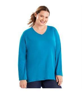 Just My Size Long-Sleeve V-Neck 100% Cotton Women's Tee