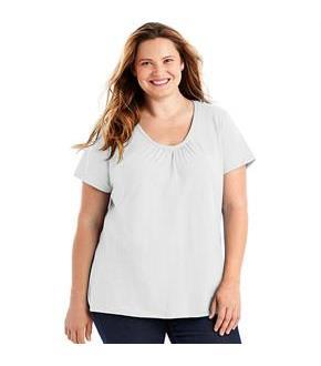 Just My Size Slub-Cotton Short-Sleeve Shirred V-Neck Women's Tee