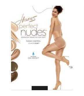 Hanes Perfect Nudes Run Resistant Tummy Control Girl Short Hosiery