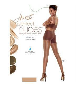 Hanes Perfect Nudes Sheer Micro Net Girl Short Tummy Control Hosiery