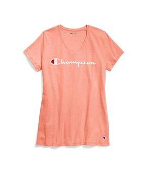 Champion Women Plus Jersey V-Neck Tee Graphic-Classic Script