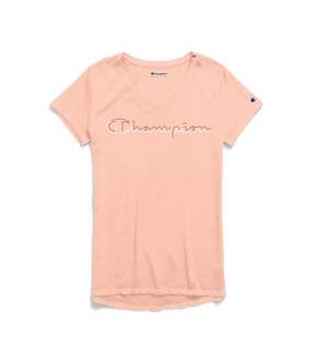 Champion Women's Authentic Wash V-Neck Tee, Colorblock Logo