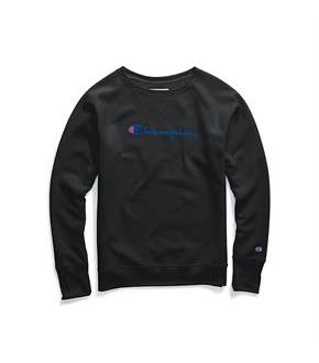 Champion Women's Powerblend Fleece Boyfriend Crew, Script Logo