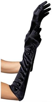 Satin gloves with snap button detail