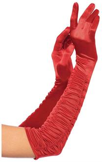 Opera length ruched satin gloves