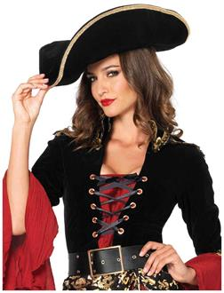 Women's pirate hat with gold trim