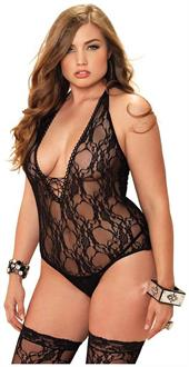 2 PC. Floral lace deep-V lace up teddy