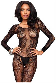 Halter vine lace teddy with attached stockings