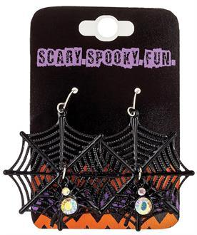 Earrings Spider Web Black