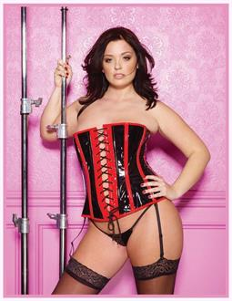 Black Red Vinyl Corset With G-String