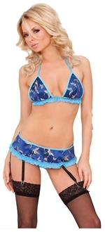 Blue Vinyl & Brocade 3 Pc Bra Set