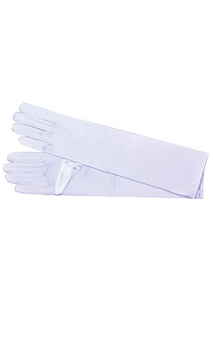 Nylon Shoulder Length White Gloves