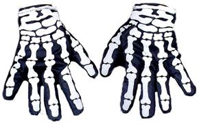 Printed White Skeleton Finger Gloves