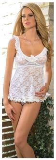 White Stretch Lace Babydoll With Flower Trimmed Hem