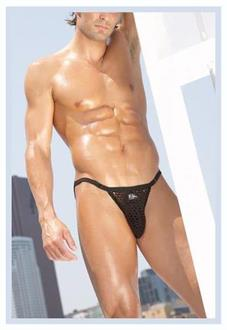 Mens Black Fishnet Brief