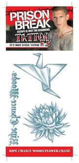 Prison Break Woods Flower Crane Temporary Tattoo