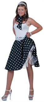 Sock Hop Skirt Scarf Black White Costume