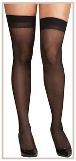 Thigh High Sheer With Seam Black queen