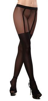 Tights Sheer With Garters Blk