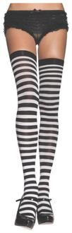 Black And White Stripe Thigh High