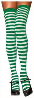 Stockings Thigh High Striped White/Green