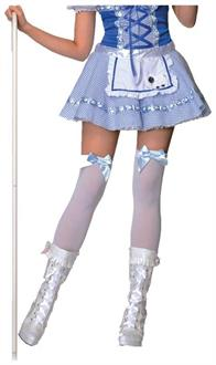 White Thigh High Stockings With Blue Bows