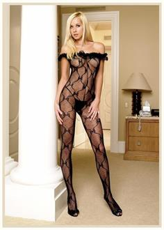 Lace Crotch Bodystocking Bow Black