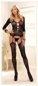 Floral Lace Suspender Bodystocking Black One Size