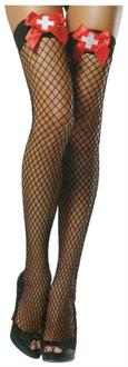 Fishnets Thigh Highs Nurse Black Stocking With  Red Bow