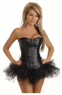 Strapless Zip-Up Sequin Corset and Pettiskirt