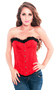 Red Strapless Overbust Fashion Corset Top with Plush Trims