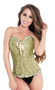 Green Tapestry Embroidered Clubwear Party Corset Top