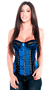Steel Boned Blue Embroidered Brocade Zipper Corset Top