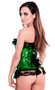 Green Sequin Pin-Up Burlesque Party Corset Top
