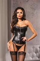 Faux Leather Studded Corset With Zip Front