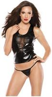Faux Leather and Chain Top and G-String