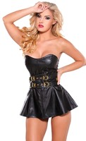 Faux Leather Mini Dress with Belt