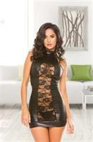 Wet look dress with floral lace front