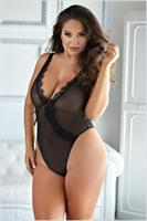 Mesh and Eyelash lace teddy black