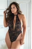 Lace and Mesh halter Teddy black